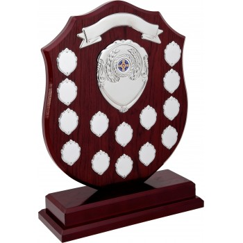 Perpetual Plaque - 14 Chrome Shields ~ 37.5cm High (Euro 82.80)