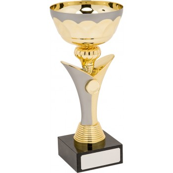 Quality Gold and Grey Pedestal Cup - Avail. in 5 Sizes: 18cm (Euro 8.80), 22.5cm (Euro 12.00), 26.5cm (Euro 13.10),  28.5cm (Euro 15.50) and 31.5cm (Euro 18.80)