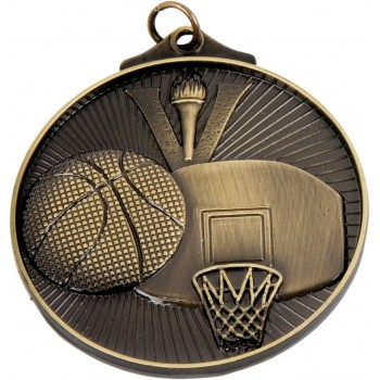 3D Basketball Medallion ~ 52mm - Avail. In Antique Gold and Antique Silver ~ (Euro 1.70)