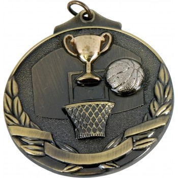 3D Deluxe Basketball Medallion ~ 51mm - Avail. In Antique Gold and Antique Silver ~ (Euro 2.00)