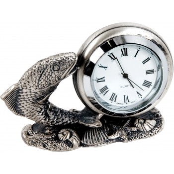 Nickel Plated Angling Clock ~ 4.5cm High ~ (Euro 13.00)
