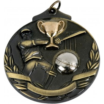 3D Deluxe Cricket Medallion ~ 51mm - Avail. In Antique Gold Only ~ (Euro 2.00)