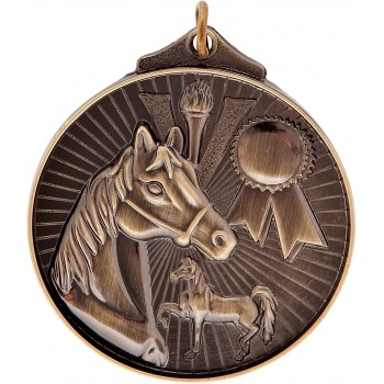 3D Equestrian Medallion ~ 52mm - Avail. In Antique Gold Only ~ (Euro 1.70)