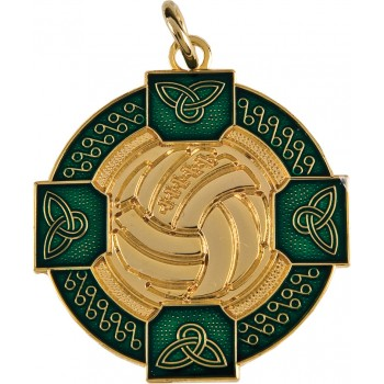 Gaelic Football - Celtic Enamelled Medallion ~ 33mm - Available In Gold and Silver ~ (Euro 3.40)