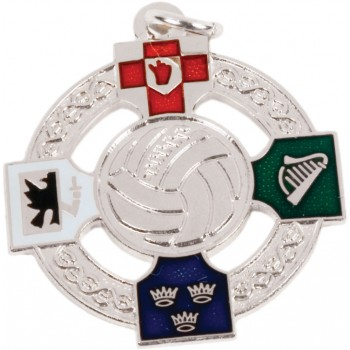 Gaelic Football - Full Colour Four Provinces Medallion ~ Pierced - 33mm - Available In Gold and Silver ~ (Euro 4.30)