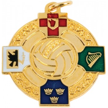 Gaelic Football - Full Colour Four Provinces Medallion ~ 33mm - Available In Gold and Silver ~ (Euro 4.10)