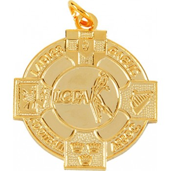 Ladies Gaelic Football – Mono Tone Four Provinces Medallion ~ 33mm - Available In Gold and Silver ~ (Euro 3.50)