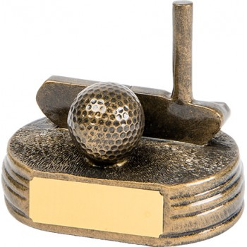 Bronzed Finished Putter & Ball ~ 10.5cm High (Euro 13.40)