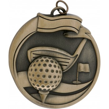 High Relief - Golf Medallion ~ 65mm - Avail. In Antique Gold and Antique Silver ~ (Euro 3.90)