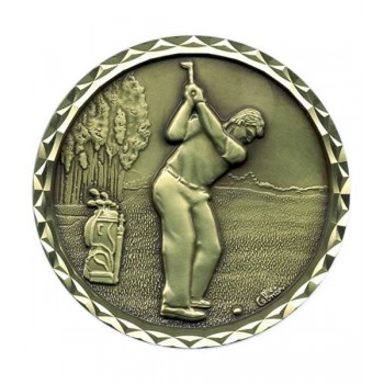 Solid Bronze Golf Medallion (with Diamond Cut Border) ~ 60mm - Avail. in Antique Gold,  Antique Silver and Antique Bronze ~ (Euro 13.75, includes deluxe presentation case)