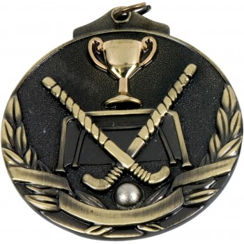 3D Deluxe Hockey Medallion ~ 51mm - Avail. In Antique Gold and Antique Silver ~ (Euro 2.00)
