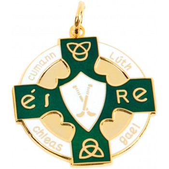 Hurling & Camogie - Full Colour Celtic Medallion ~ 33mm - Available In Gold and Silver,  and a Choice of Colours ~ (Euro 4.60)