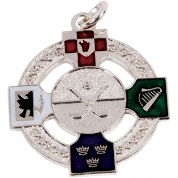 Hurling & Camogie - Full Colour Four Provinces Medallion ~ Pierced - 33mm - Available In Gold and Silver ~ (Euro 4.30)