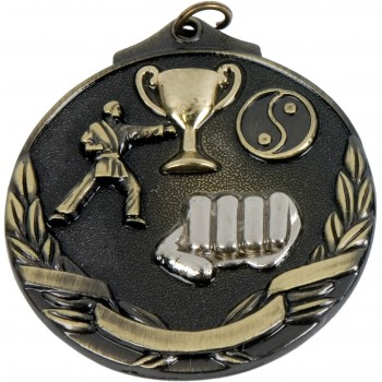 3D Deluxe Martial Arts Medallion ~ 51mm - Avail. In Antique Gold and Antique Silver ~ (Euro 2.00)
