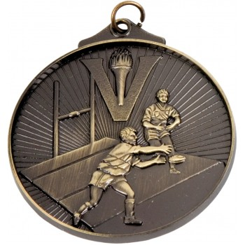 3D Rugby Medallion ~ 52mm - Avail. In Antique Gold and Antique Silver ~ (Euro 1.70)