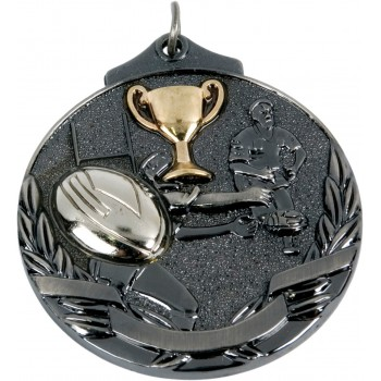 3D Deluxe Rugby Medallion ~ 51mm - Avail. In Antique Gold and Antique Silver ~ (Euro 2.00)