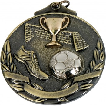 3D Deluxe Soccer Medallion ~ 51mm - Avail. In Antique Gold and Antique Silver ~ (Euro 2.00)