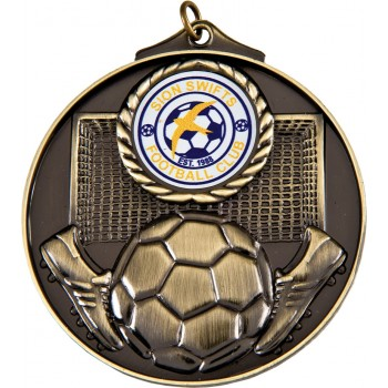 Large Soccer Medallion ~ 50mm - Avail. In Antique Gold and Antique Silver ~ (Euro 2.50)