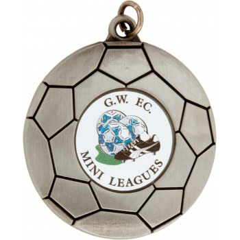 Soccer Ball Medallion ~ 50mm - Avail. In Antique Gold and Antique Silver ~ (Euro 1.80)