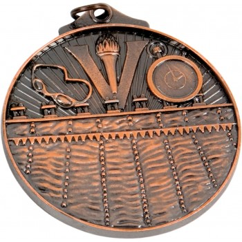 3D Swimming Medallion ~ 52mm - Available In Antique Gold Only ~ (Euro 1.70)