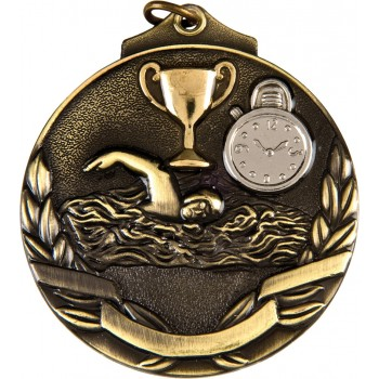 3D Deluxe Swimming Medallion ~ 51mm - Available In Antique Gold, Antique Silver and Antique Bronze ~ (Euro 2.00)